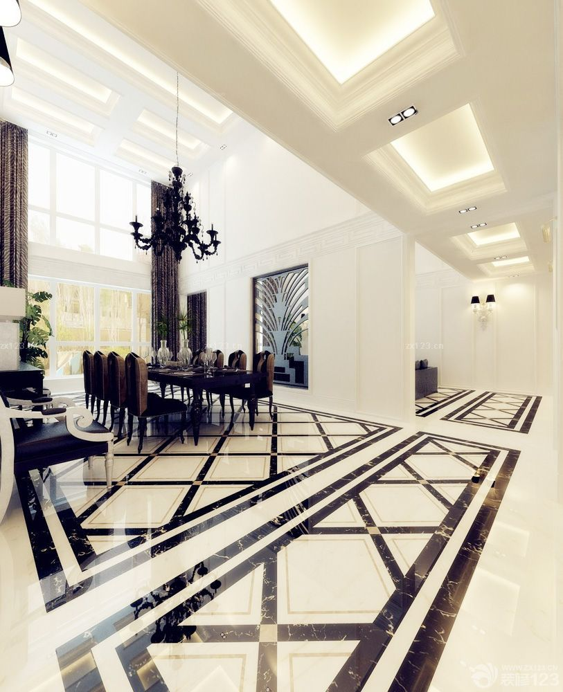 欧式客厅地板砖拼花图案装修效果图片