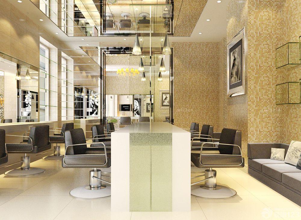 35平方理发店镜面吊顶装修效果图片