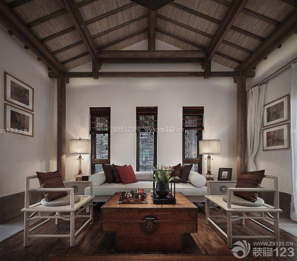 中式别墅尖顶客厅装修效果图