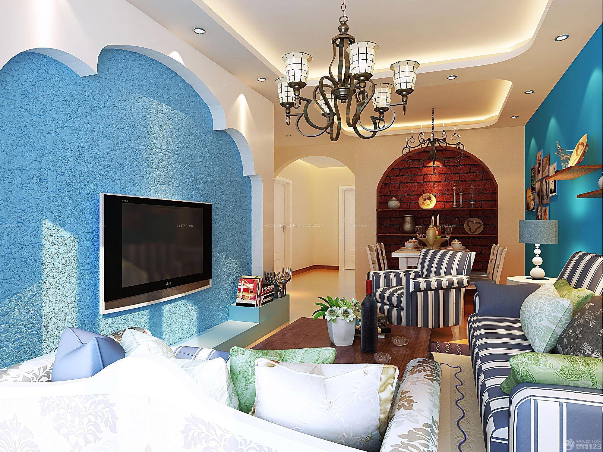 地中海风格客厅电视背景墙装潢效果图硅藻泥