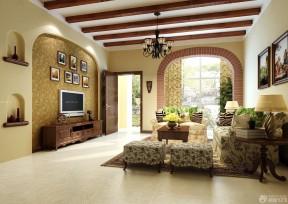 客厅电视背景墙效果图硅藻泥 美式乡村风格装修图片