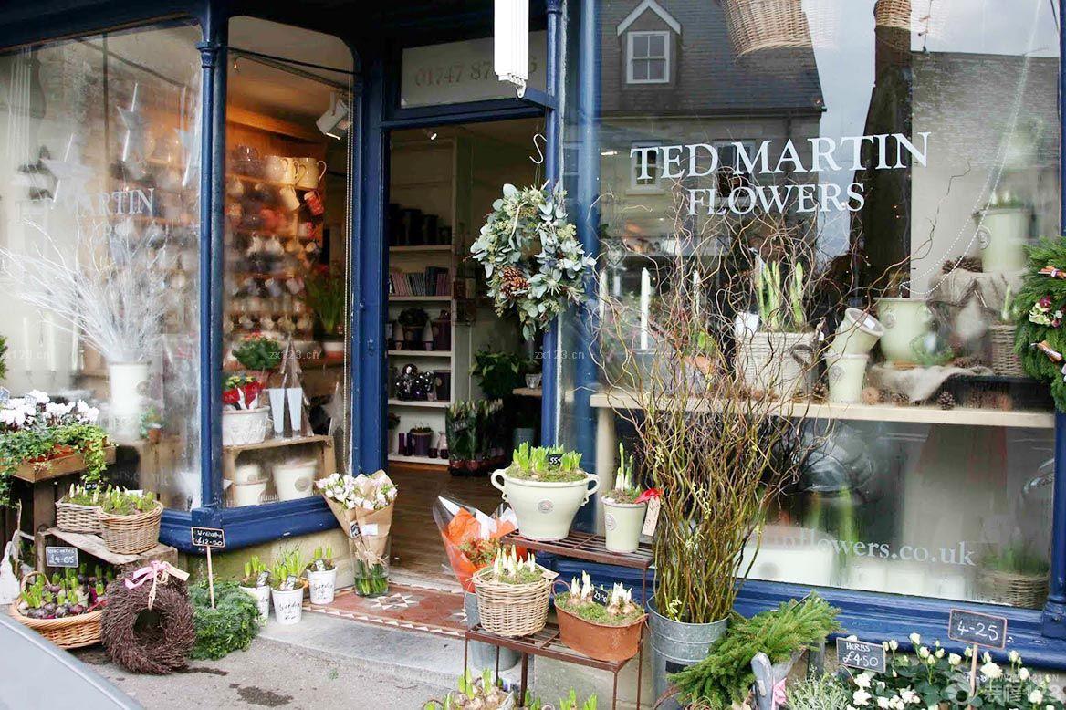 精致鲜花花店橱窗设计装修效果图图片