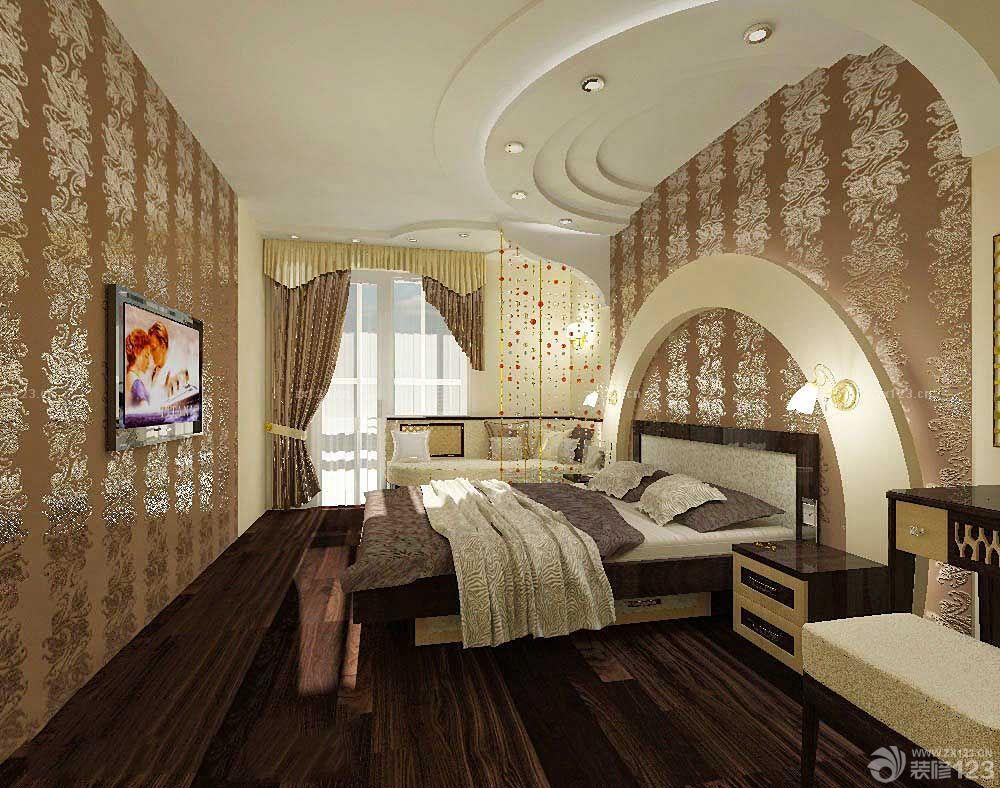 家庭卧室欧式风格硅藻泥背景墙装修效果图片