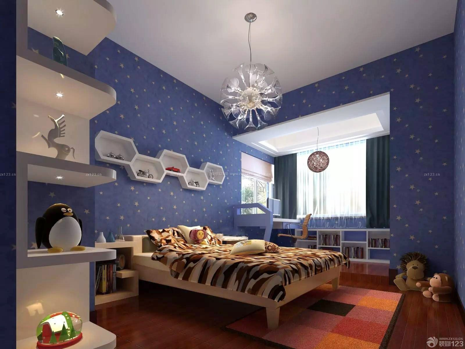 可爱儿童房间硅藻泥背景墙装修效果图片