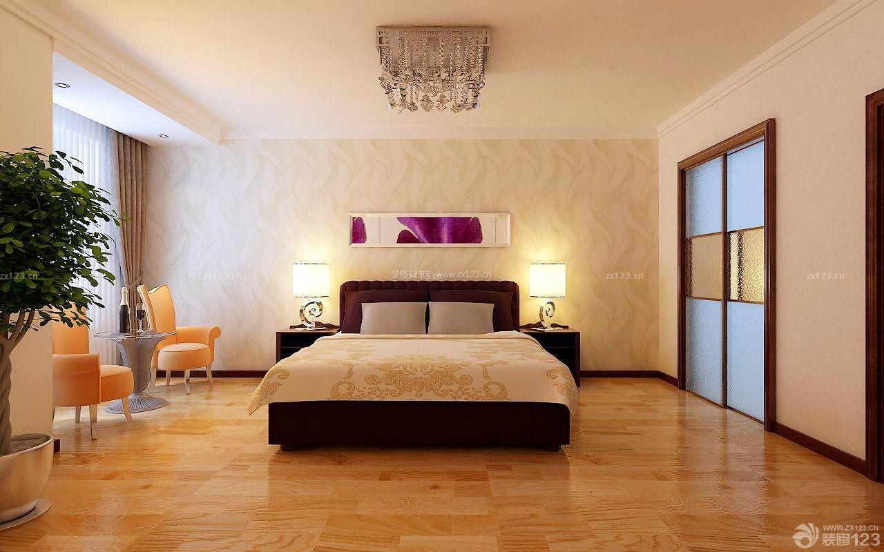 现代卧室床头硅藻泥背景墙装修效果图片