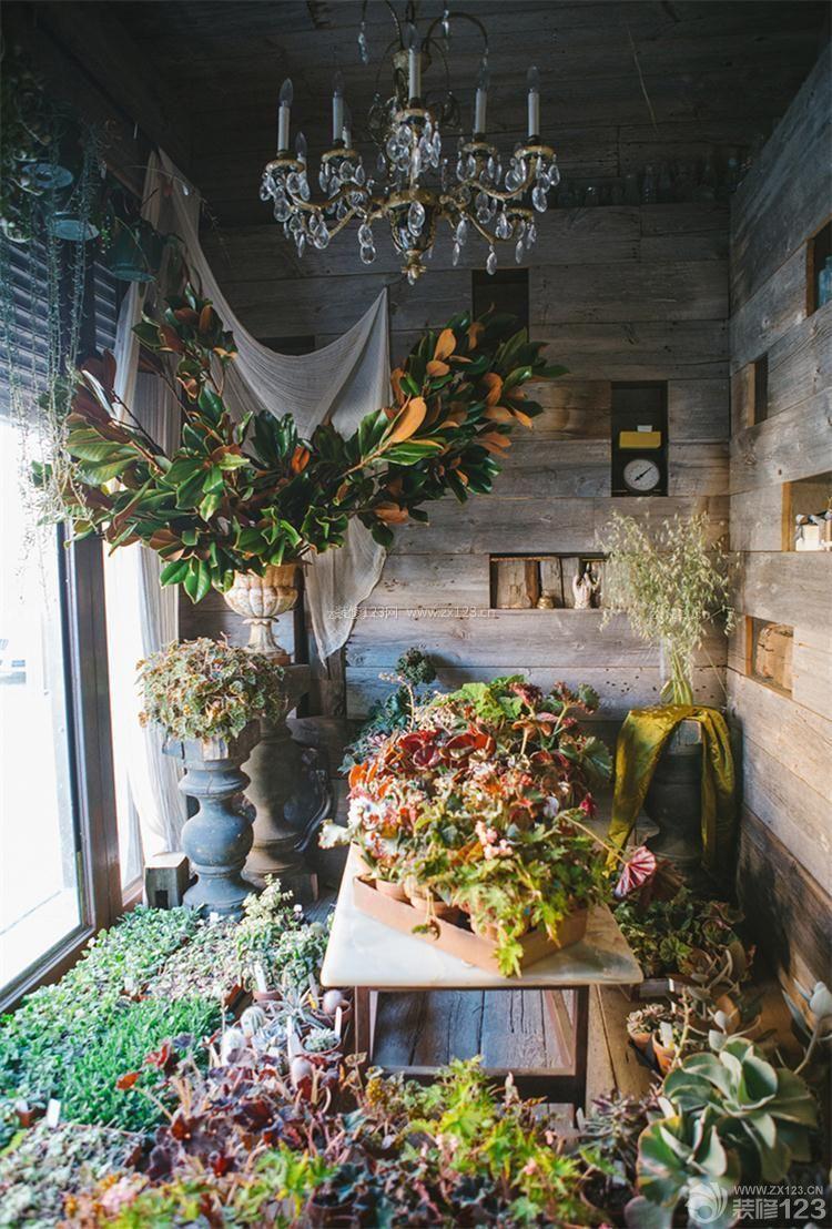 个性小型花店橱窗设计装修效果图图片