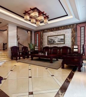 中式跃层楼房家庭刻花装修效果图