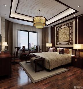 现代中式家庭卧室刻花装饰装修效果图