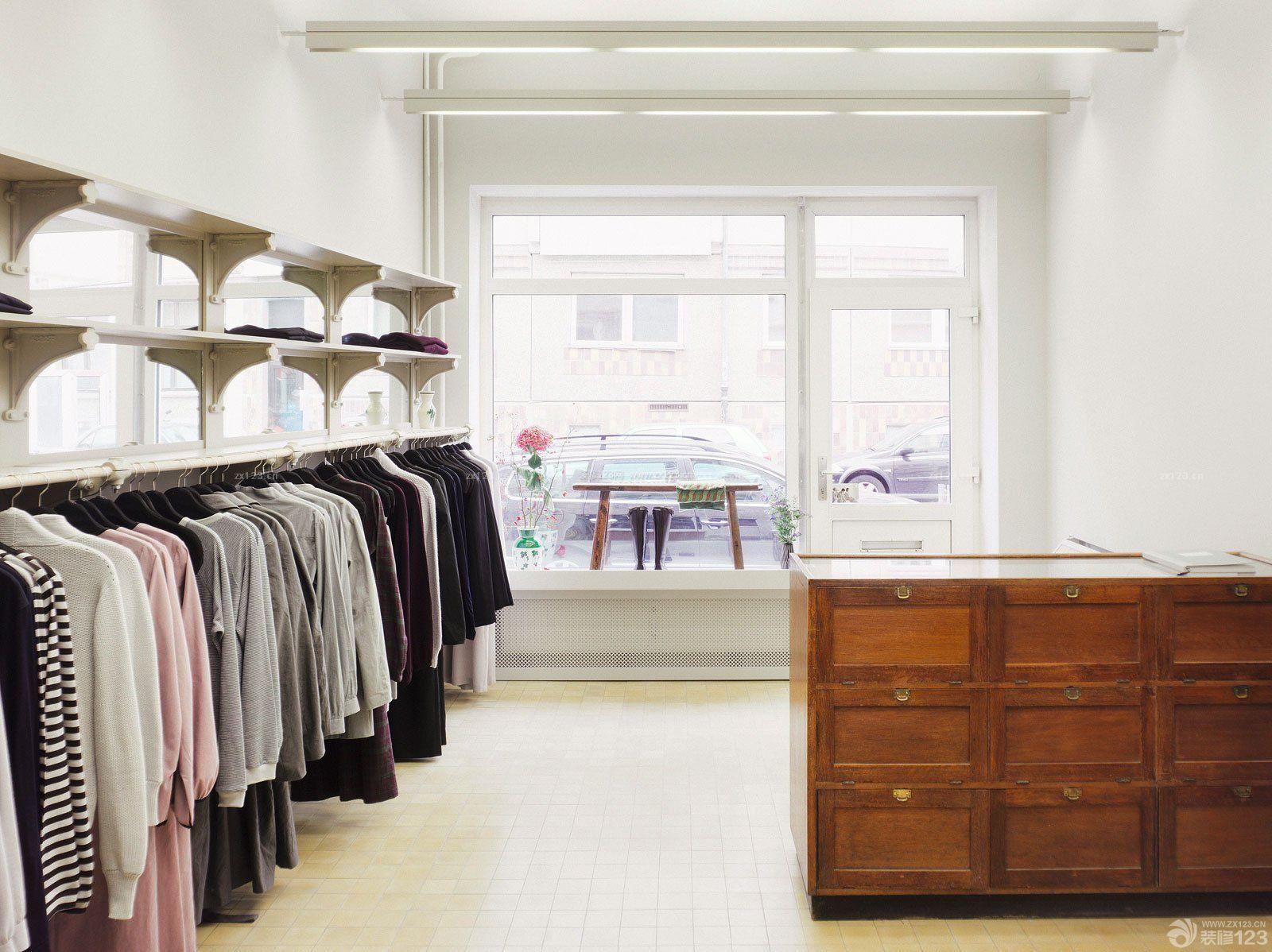 小服装店白色墙面装修效果图大全