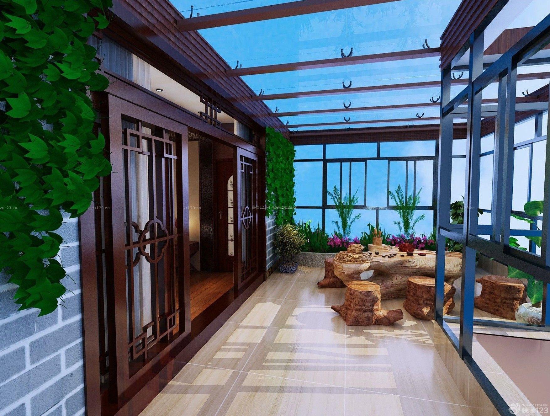 中式家装大阳台休闲区装修效果图
