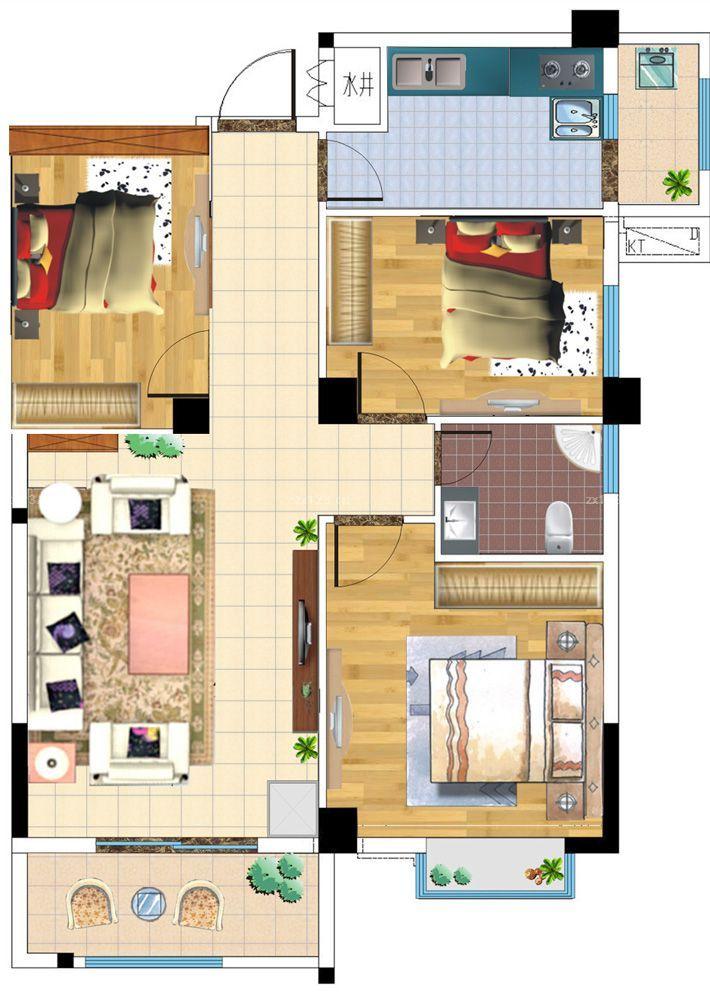 厨一卫一层平面设计图,地基12长,宽8一1o米都行