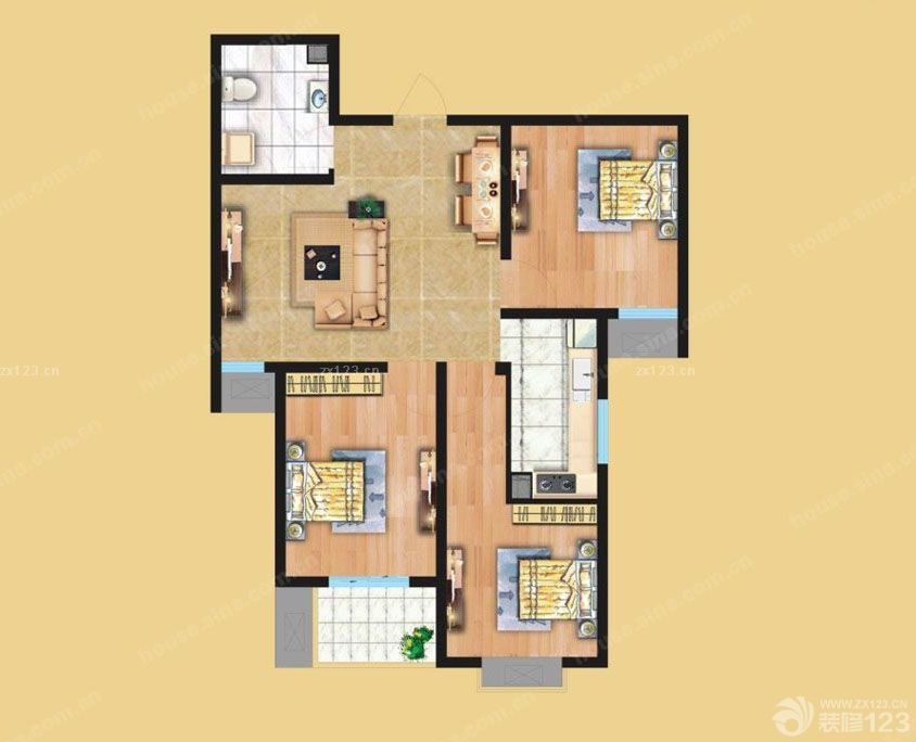 110平米三室一廳家庭室內設計平面圖