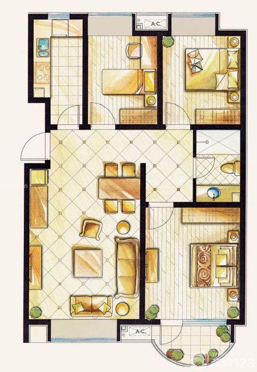 110平米三室一厅农村自建房平面图