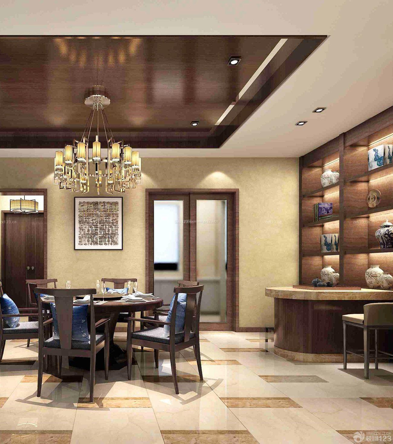 新中式风格别墅客厅墙纸图片_装修123效果图图片