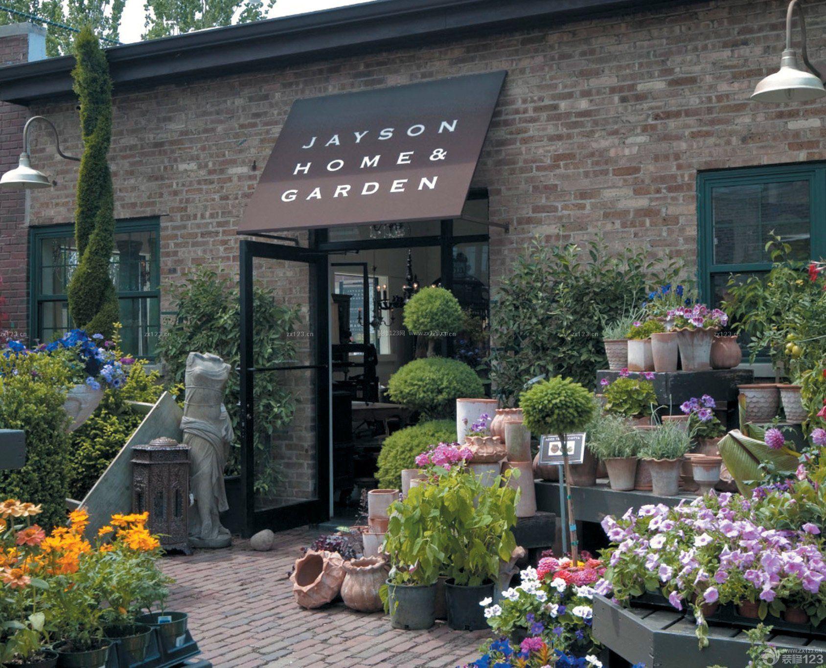 国外花店外墙砖装修效果图