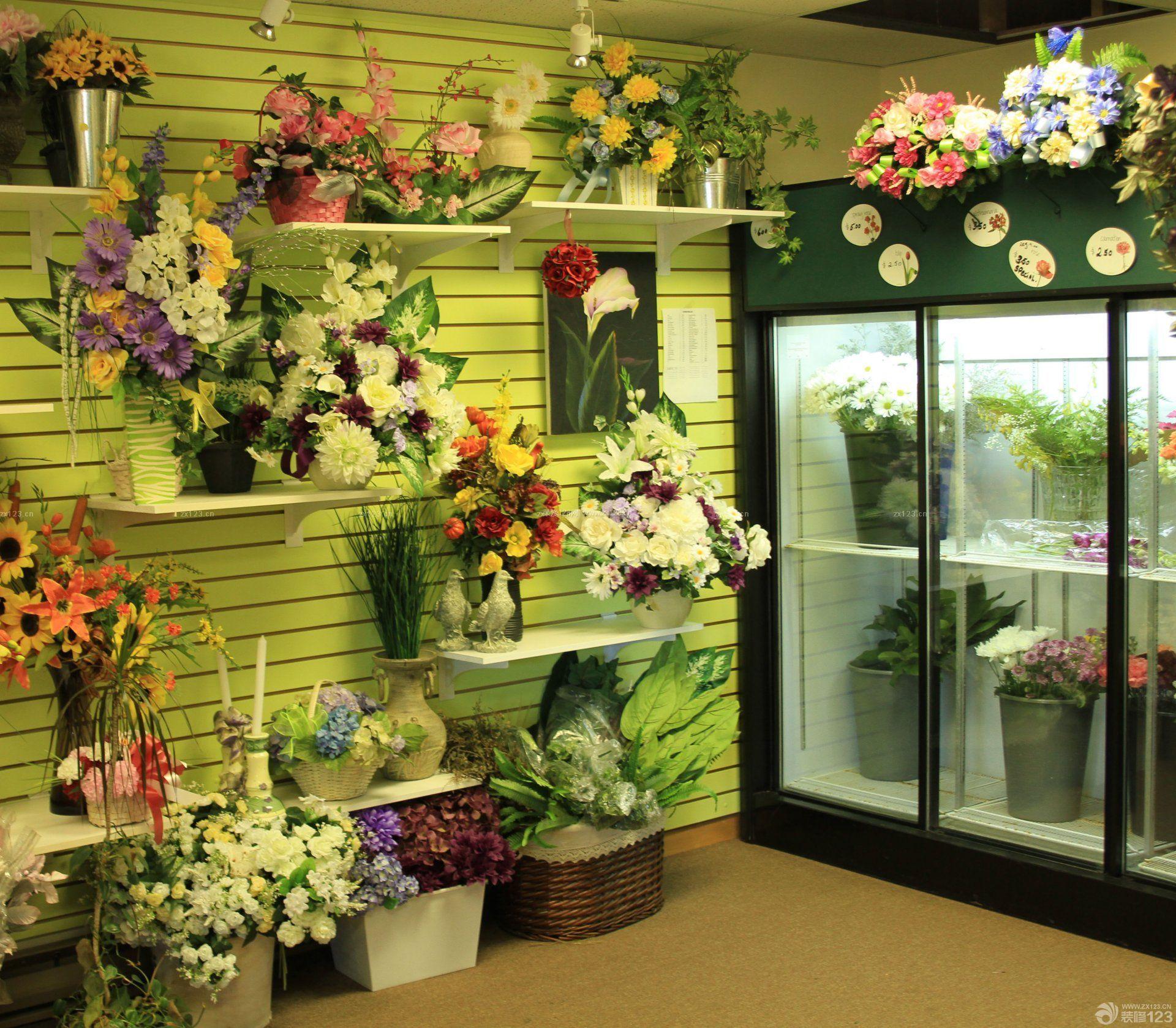 国外花店搁板置物架装修效果图图片