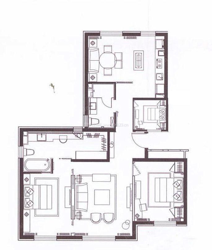110平米三室一厅农村房屋设计平面图