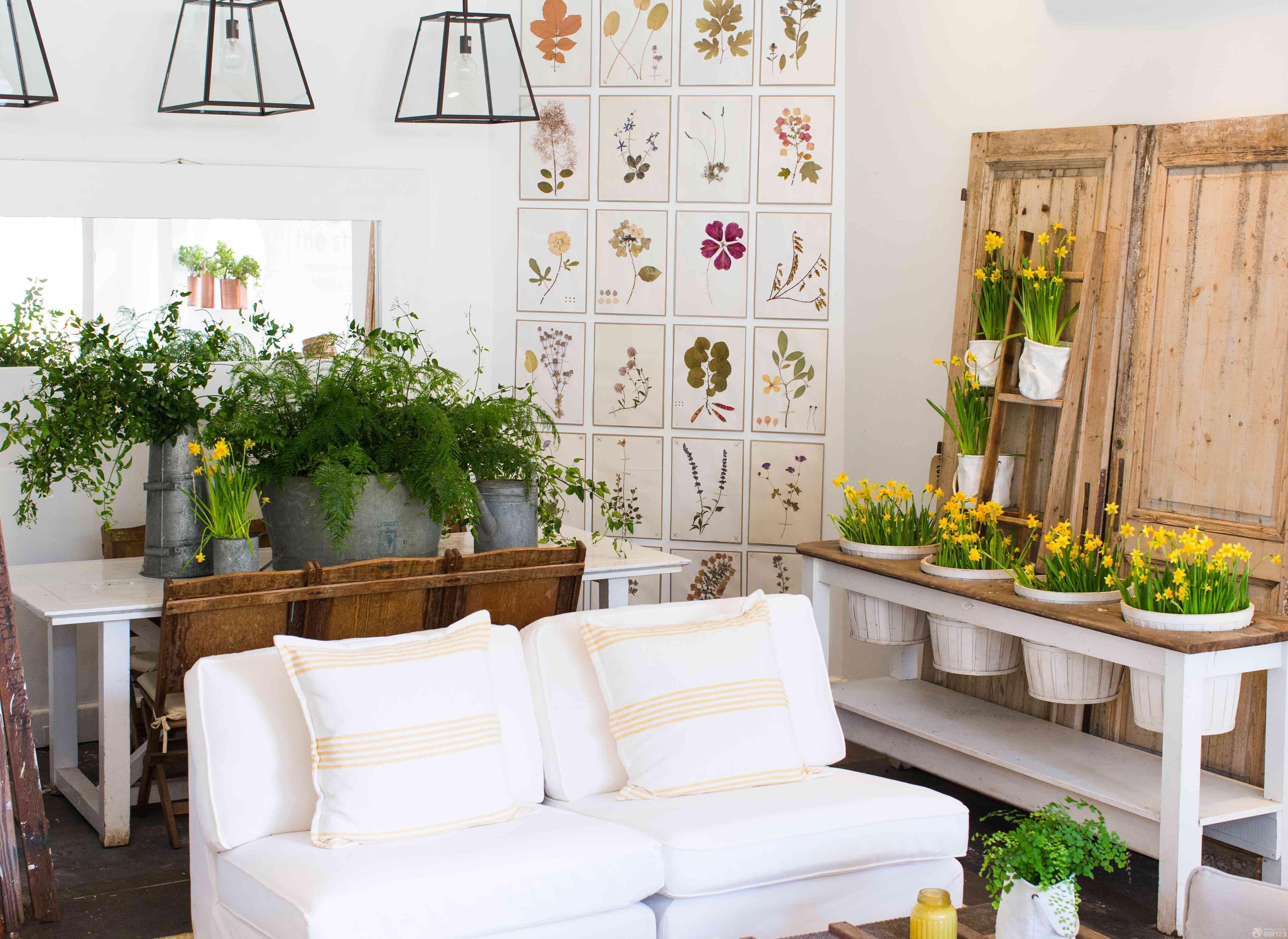 唯美韩式花店装修花卉盆景效果图片图片