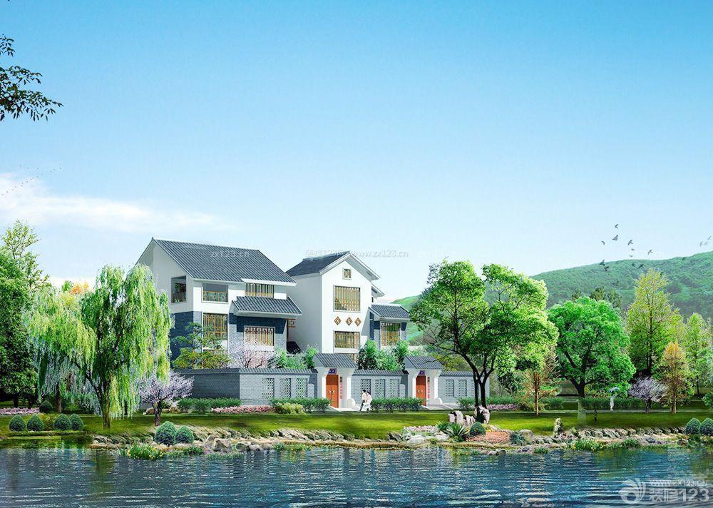 新中式农村自建别墅围墙图片_装修123效果图