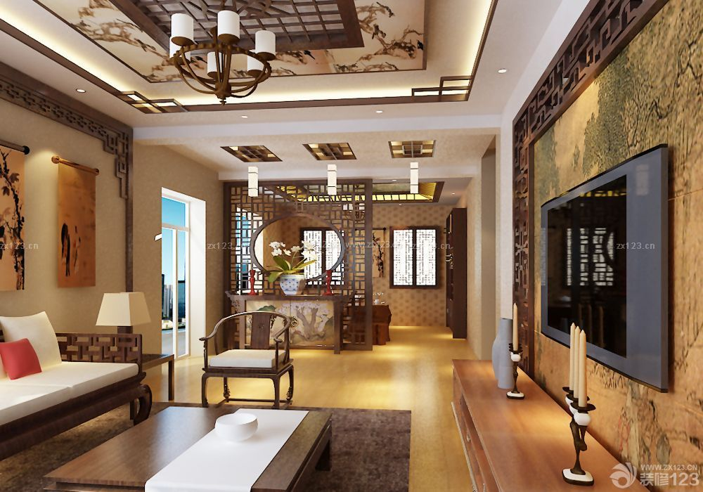中式别墅装修镂空隔断效果图片
