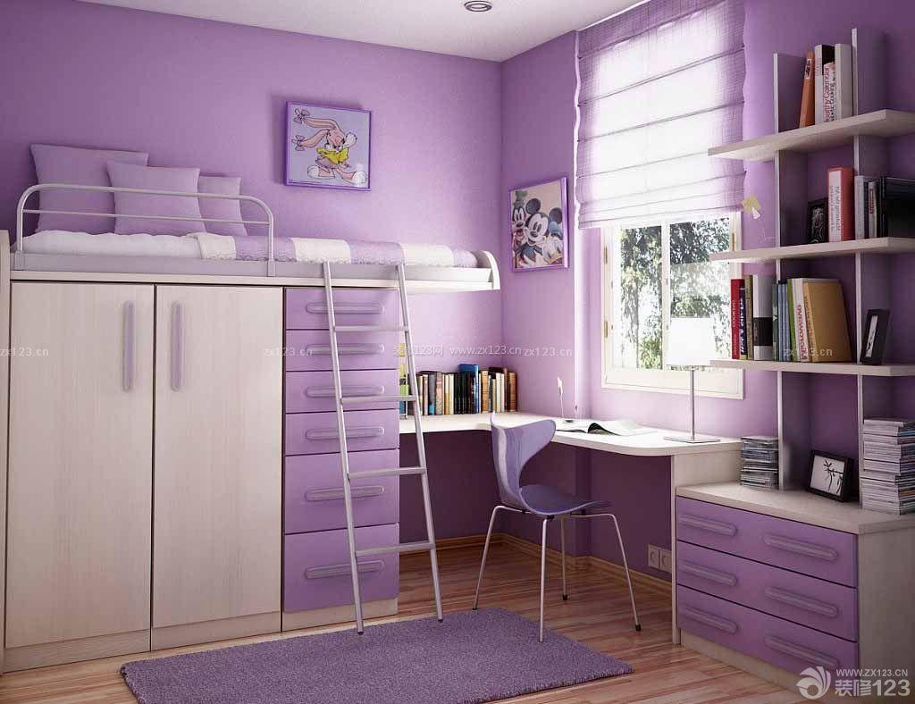 小户型卧室转角电脑桌书柜衣柜组合设计效果图