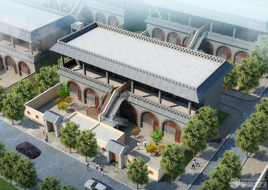 新中式高档别墅区围墙图片