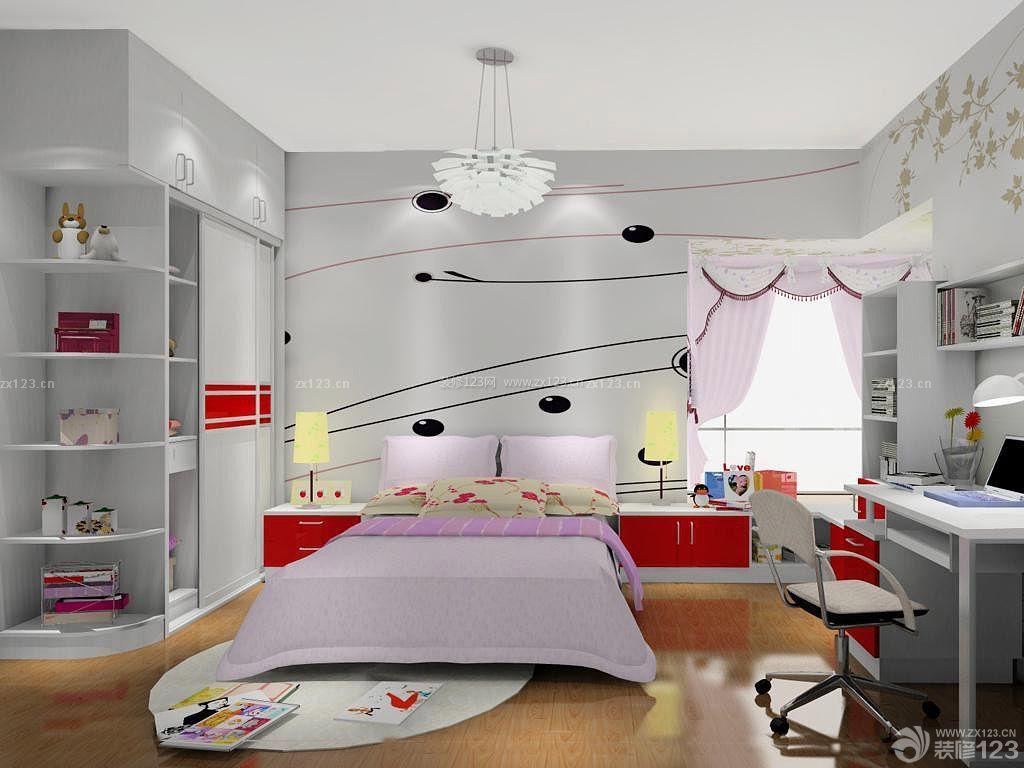 小户型家居卧室转角电脑桌书柜衣柜组合装修图