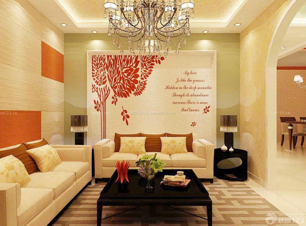 超小户型欧式客厅海藻泥电视墙装修效果图图片
