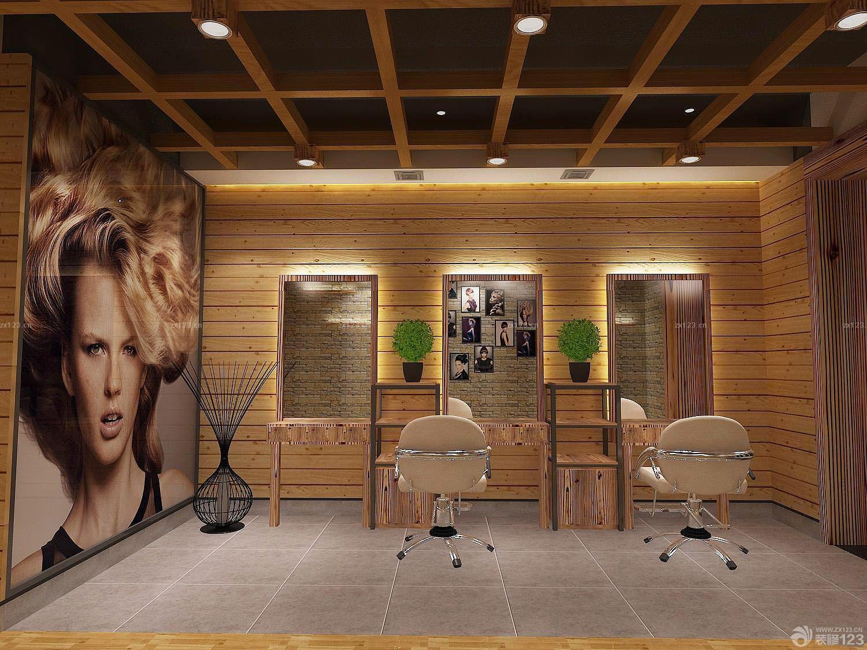 理发店中式风格木质墙面装修效果图片