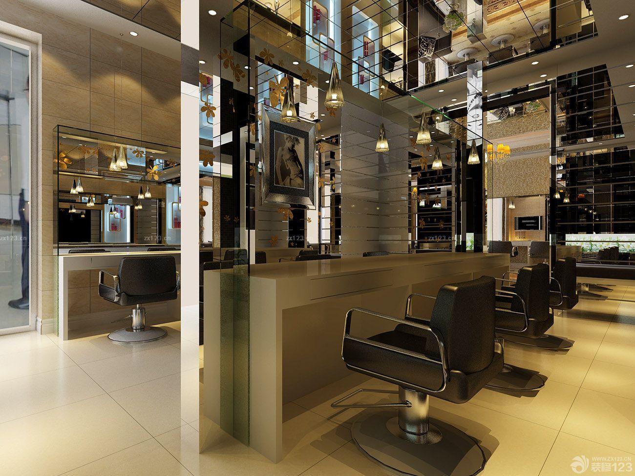 理发店现代中式风格镜面吊顶装修效果图片