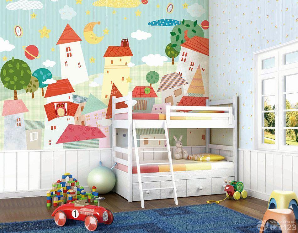 可爱儿童房间墙绘设计装修图片