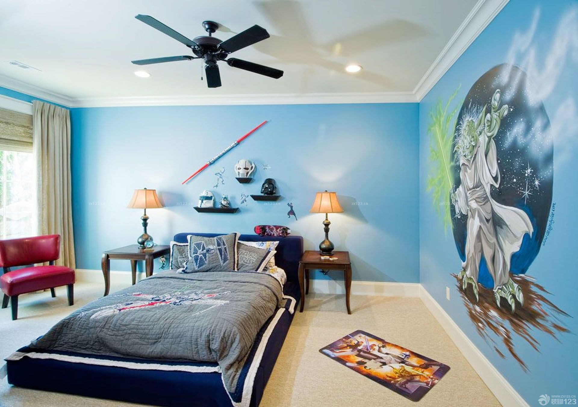 装饰公主儿童房间墙绘图片