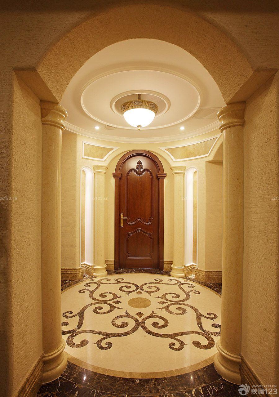 美式古典家庭别墅玄关门槛石装修效果图