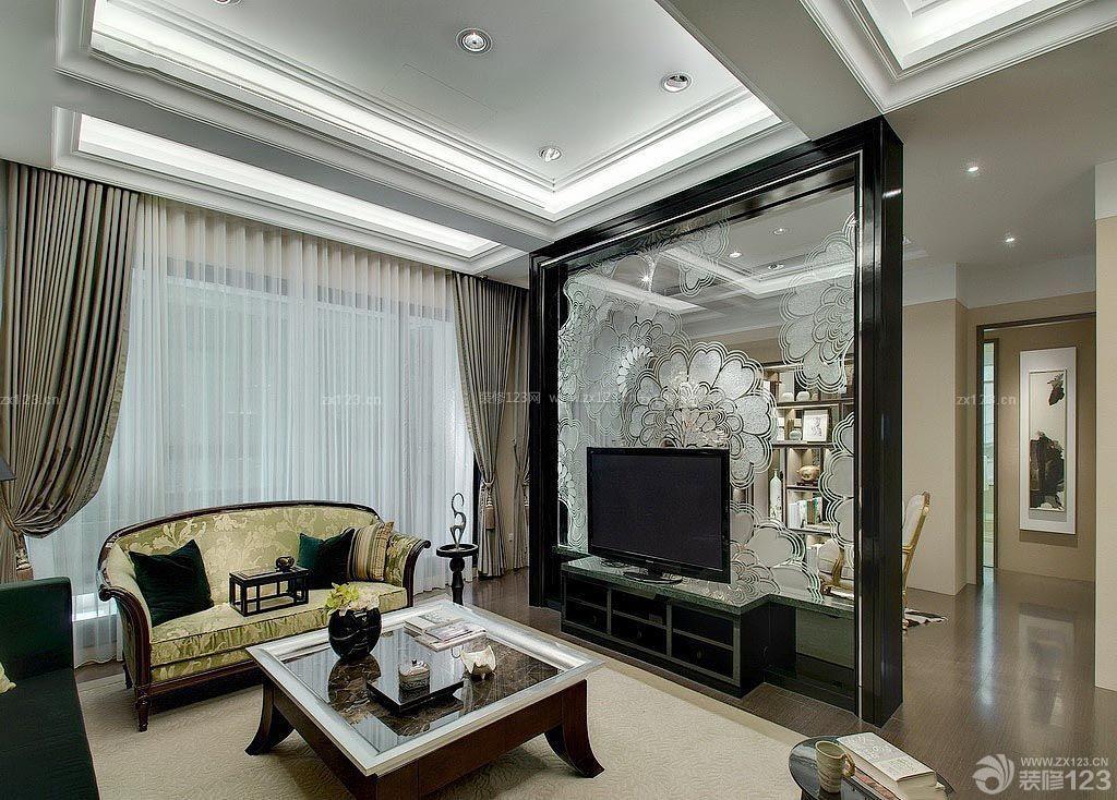 电视背景墙镜子雕花装修效果图片