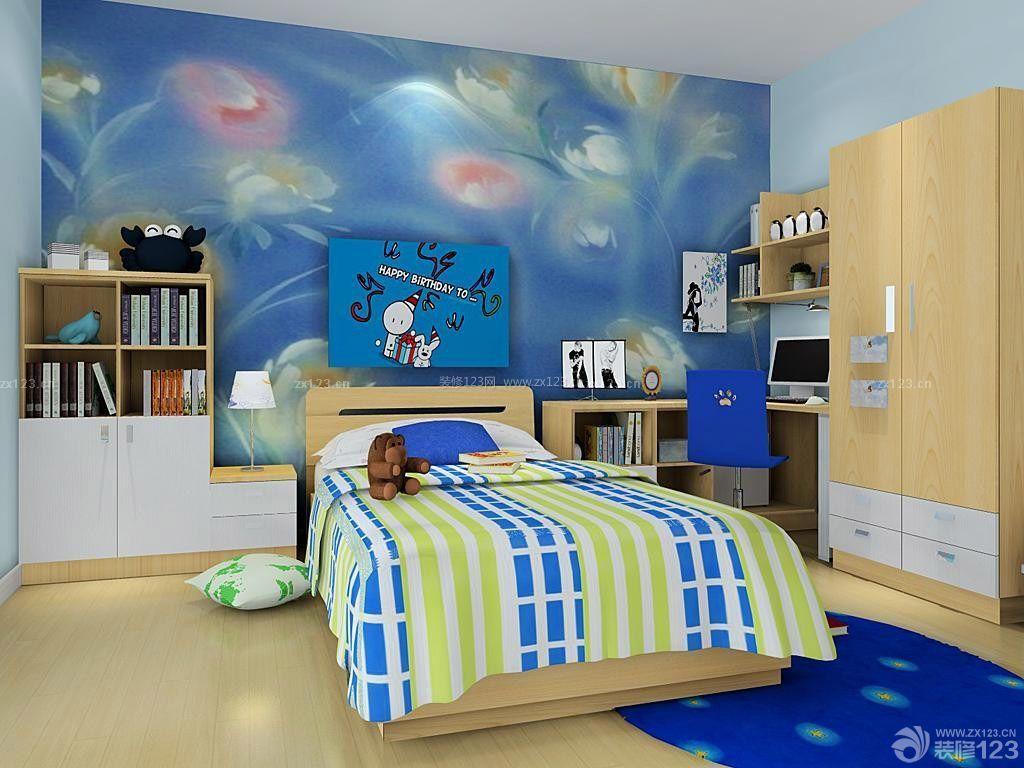 儿童房床头背景墙绘装修效果图片