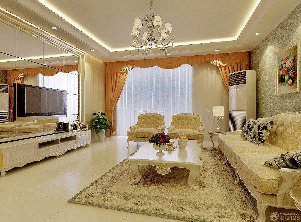 最新纯欧式客厅电视背景墙镜子装修效果图图片