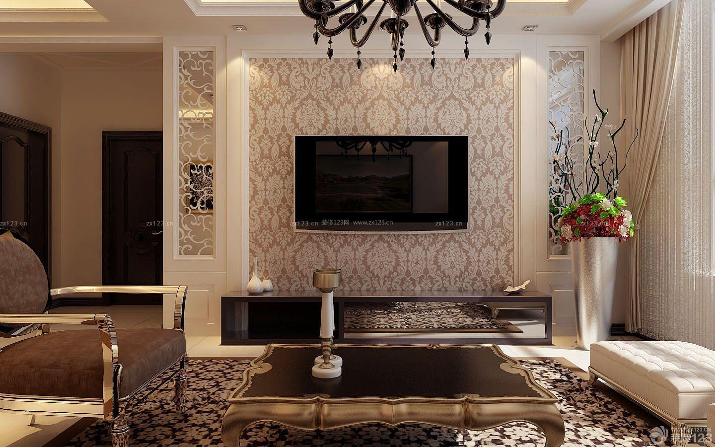 欧式电视背景墙镜子装潢效果图_装修123效果图