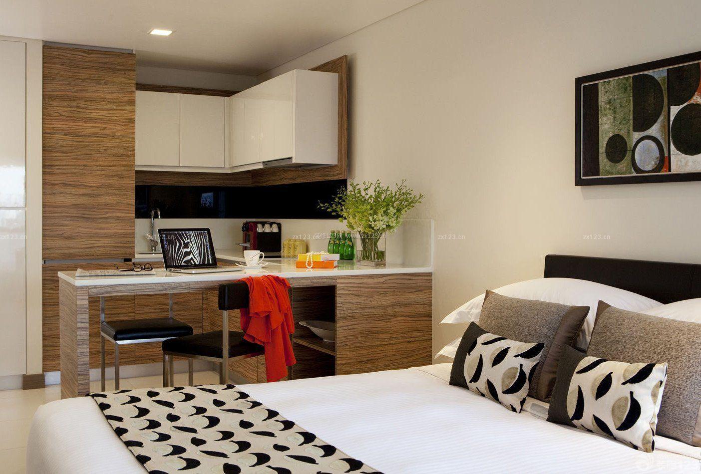 酒店式公寓房间开放式厨房吧台装修设计图片