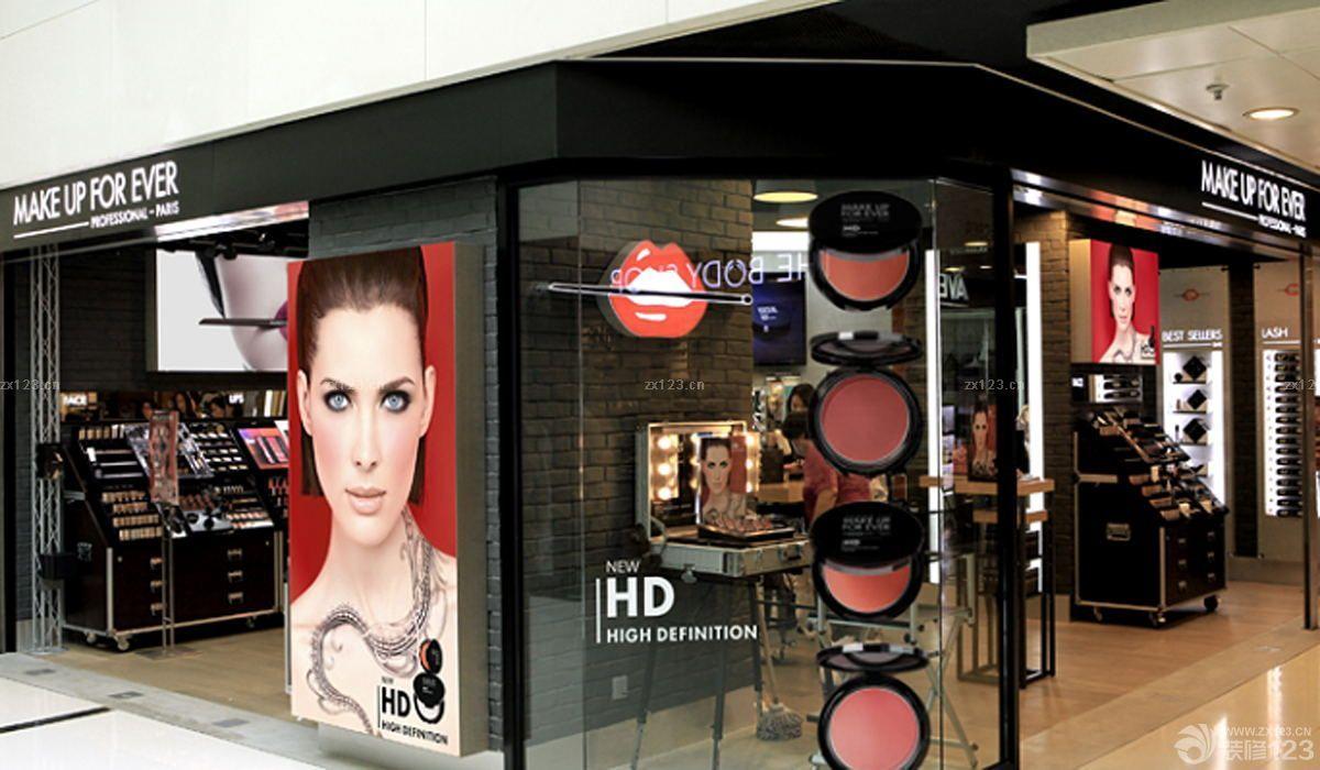 化妆品店面门头装修创意橱窗设计