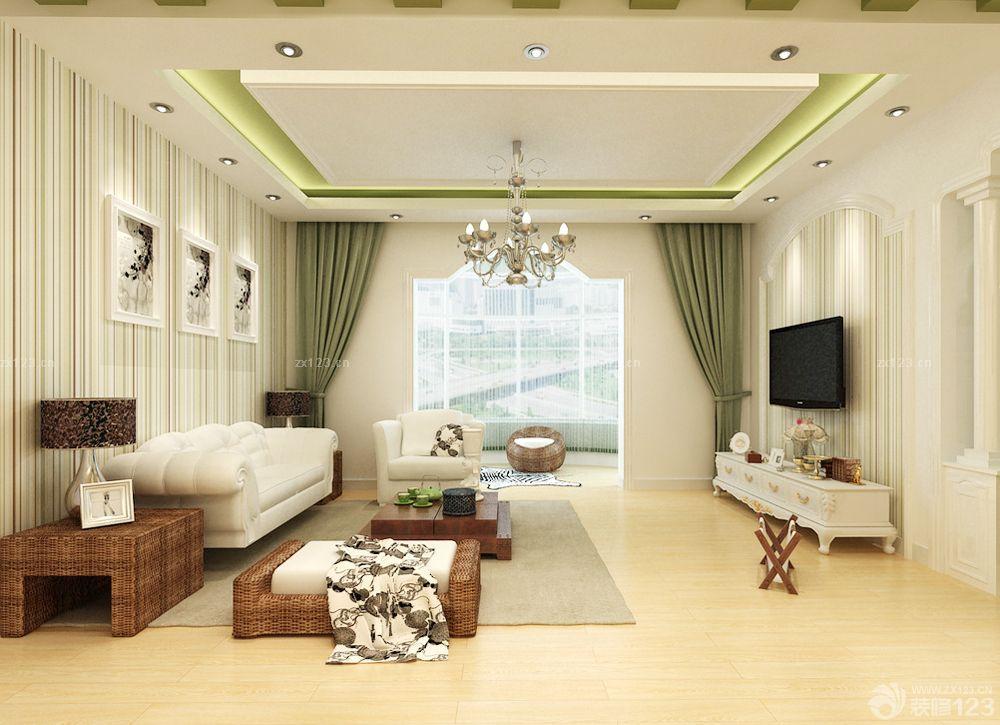 农村房子的客厅绿色窗帘装修图