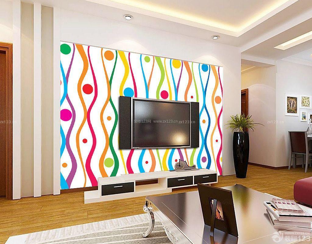 现代室内电视背景墙手绘图片大全_装修123效果图