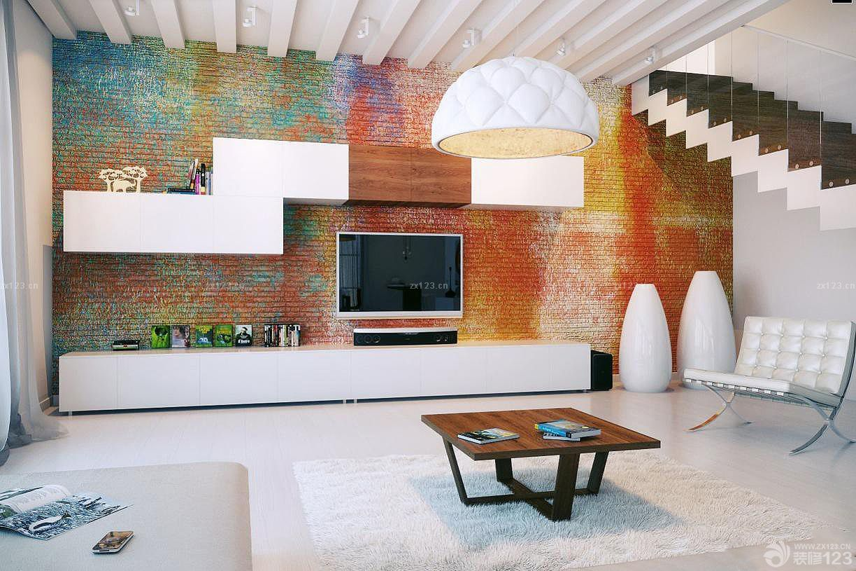 小复式楼客厅电视背景墙个性手绘装修图片大全