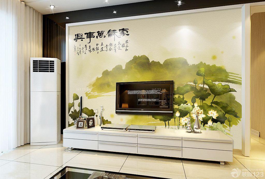 现代简约风格客厅电视背景墙手绘图片大全