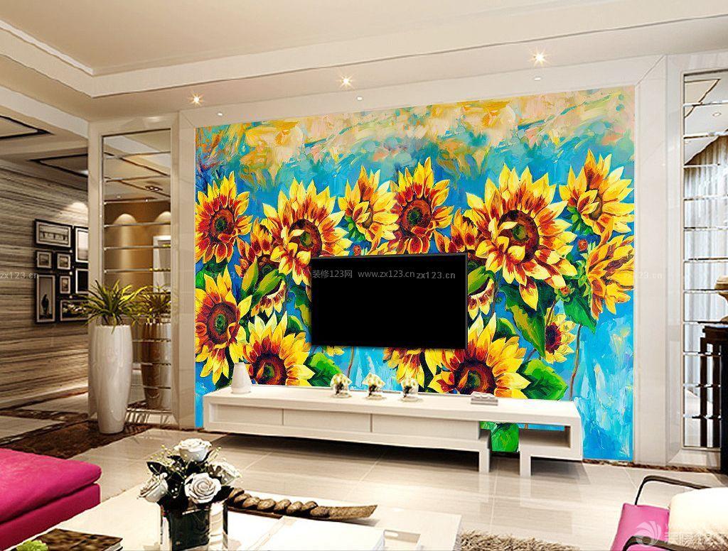 个性客厅电视背景墙手绘装修图片大全_装修123效果图