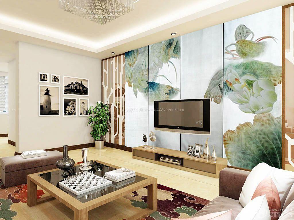 现代中式风格电视背景墙手绘图片大全