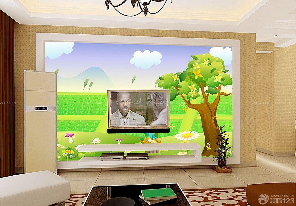 小户型客厅电视背景墙手绘装修设计图片大全
