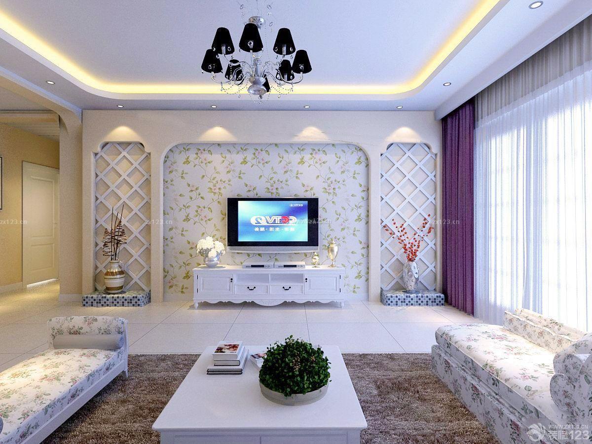 北欧简约风格电视背景墙手绘图片大全_装修123效果图