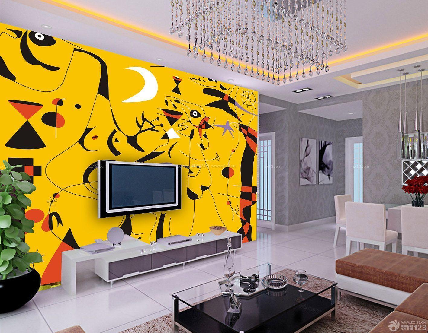 小户型个性电视背景墙手绘图片大全