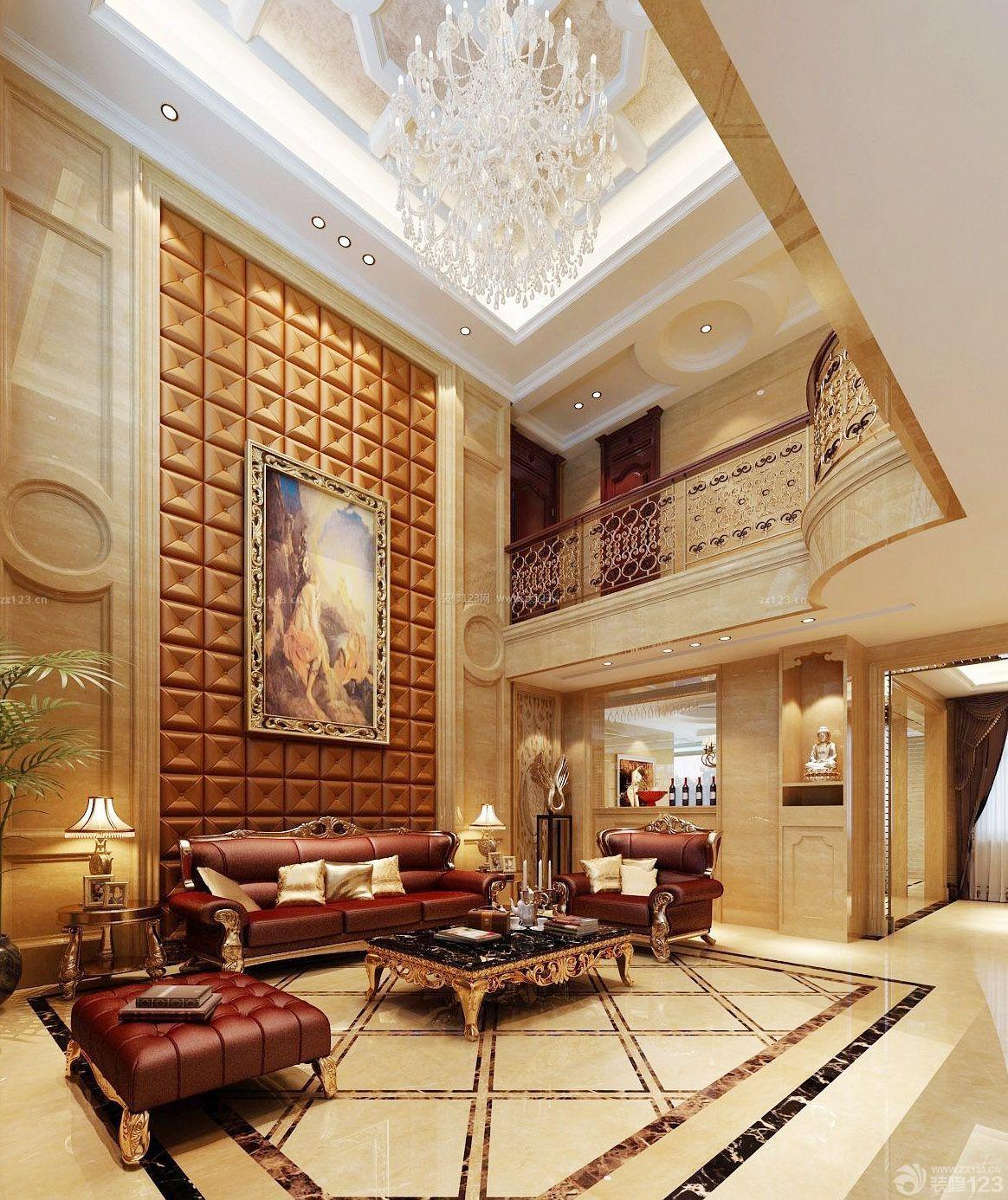 跃层别墅大厅楼梯法式装修效果图