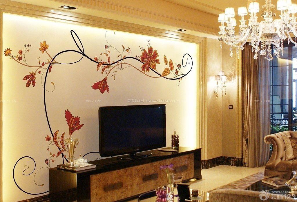 普通房子空调电视背景墙手绘装修设计图片大全